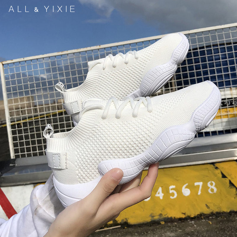 ALL YIXIE 2019 New Fashion Shoes Women Mesh Breathable Womens Platform Sneakers Casual Socks Zapatos De Mujer