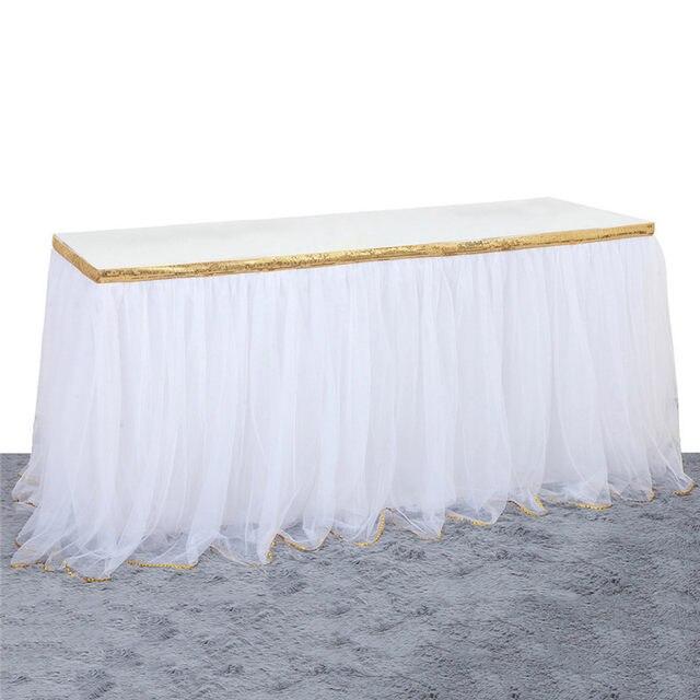 9 Ft Tutu Table Skirt Diy Round Rectangle White Pink High End Decorative Party Decor Gauze Wedding Decoration