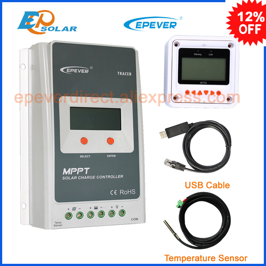 Tracer2210A 20A 12V/24V 100V MPPT solar controller with MT50 remote meter and USB Communication cable & temperature sensor mppt 20a solar regulator tracer2210a with mt50 remote meter and temperature sensor