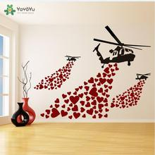 Wall Decal Vinyl Sticker Banksy Helicopter with Hearts Love Street Art Graffiti Helicopters Home Decoration Mural DIY WW-412