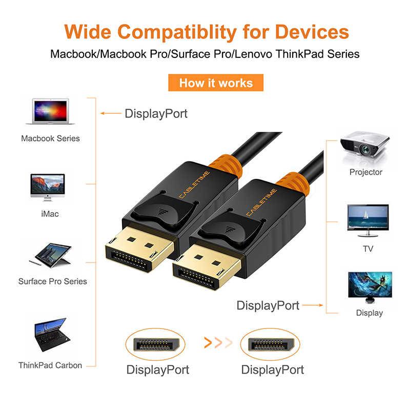 كابل ديسبلايبورت كابل 1 متر ذكر إلى ذكر DP 1.2 كابل DP فيديو الصوت 4k 60hz عرض ميناء كابل 2 متر ل HDTV العارض PC C071