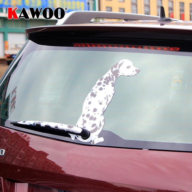 KAWOO Funny Cartoon Car Stickers Dalmatian Dog Moving Tail Stickers Rear Windshield Window Wiper Decor Sticker Car-Styling
