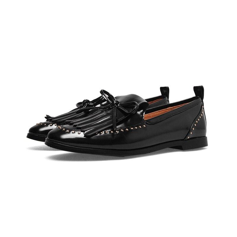 Bout Printemps Grand Noeud Size34 Appartements Décoration Verni Pour Slip 43 Noir Chaussures Rond On Bonjomarisa Femmes blanc En Buterfly Mules Cuir YptqT