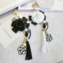 Luxury Bag Black White Woman Keychain Plush Car Camellia Bag