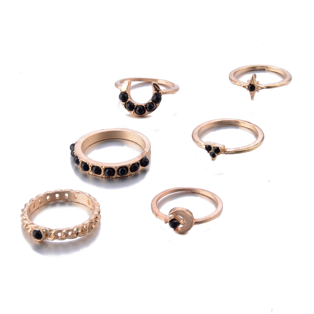 Gold color Retro star moon Knuckle Rings For Women Vintage Geometric Pattern Crystal Ring Set Party Bohemian Jewelry 6 PCS Set in Rings from Jewelry Accessories