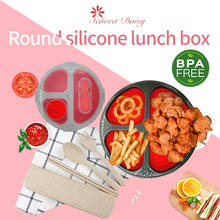 Round Lunch Box Seal Collapsible Storage 3 Cells Bento Bowl Silicone Folding Lunchbox Eco-Friendly For Kids