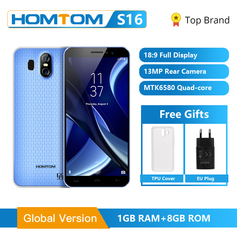 Original HOMTOM S16 Fingerprint Mobile Phone Android 7.0 5.5inch Screen 2G RAM 16G ROM 13MP <font><b>MTK6580</b></font> <font><b>Quad</b></font>-<font><b>Core</b></font> 3000mAh <font><b>Smartphone</b></font> image