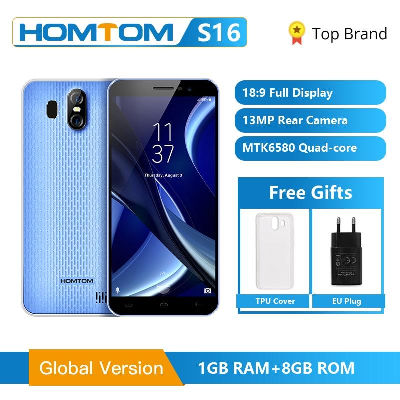 Original HOMTOM S16 Fingerprint Mobile Phone Android 7.0 5.5inch Screen 2G RAM 16G ROM 13MP MTK6580 Quad-Core 3000mAh Smartphone
