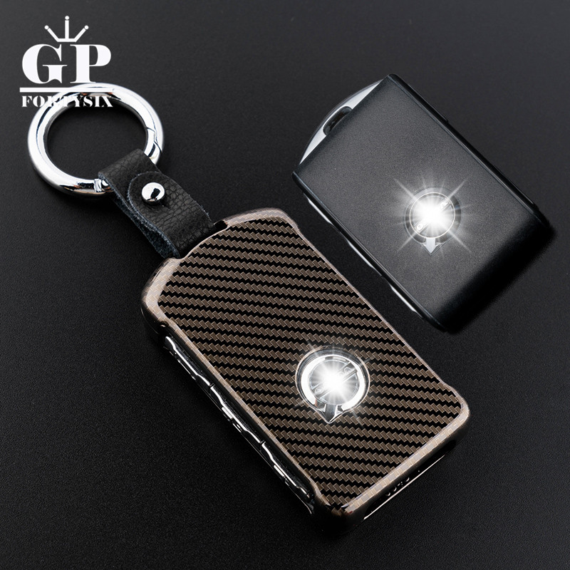 Car-Styling Zinc Alloy+Leather keychain Car Key Protecting Shell Key Covers Case Fob For 2018 Volvo XC60 XC90 S90 V90 Accessory car styling keychain