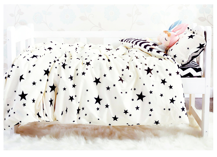 3pcs/set black white style baby bedding star stripe Wave Dot Lattice Cross design kids bedding set for newborn baby duvet cover colorful bedding star and moon duvet cover set 3pcs