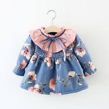 Children Autumn Winter Long Sleeve Baby Infants Girls Kids Flora Printed Bow Ruffles Velvet Princess Party Dress Vestidos S7476