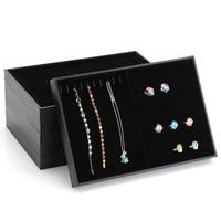 Black Leather Jewelry Display Organizer 35x24x3cm Jewelry Display Tray Kit Ring Bracelet Necklace Earrings Storage Box