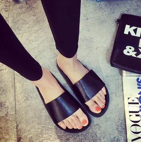3dd2cf3e33727 2016 Summer Women's Slippers Casual Slides Black Women Sandals Flat Sandals  Flip Flops Open Toe Beach Shoes Sapatos Feminino