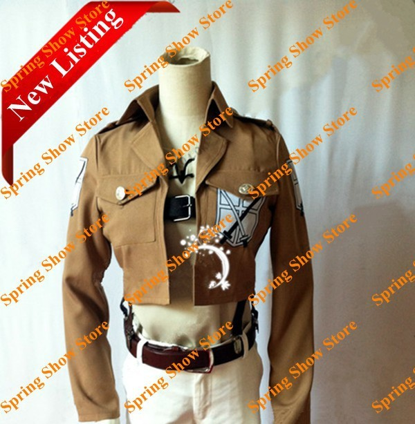 Free Shipping Attack on Titan Training Corps Eren Jaeger/Mikasa Ackerman Cotton Blend Jacket Cosplay Costume
