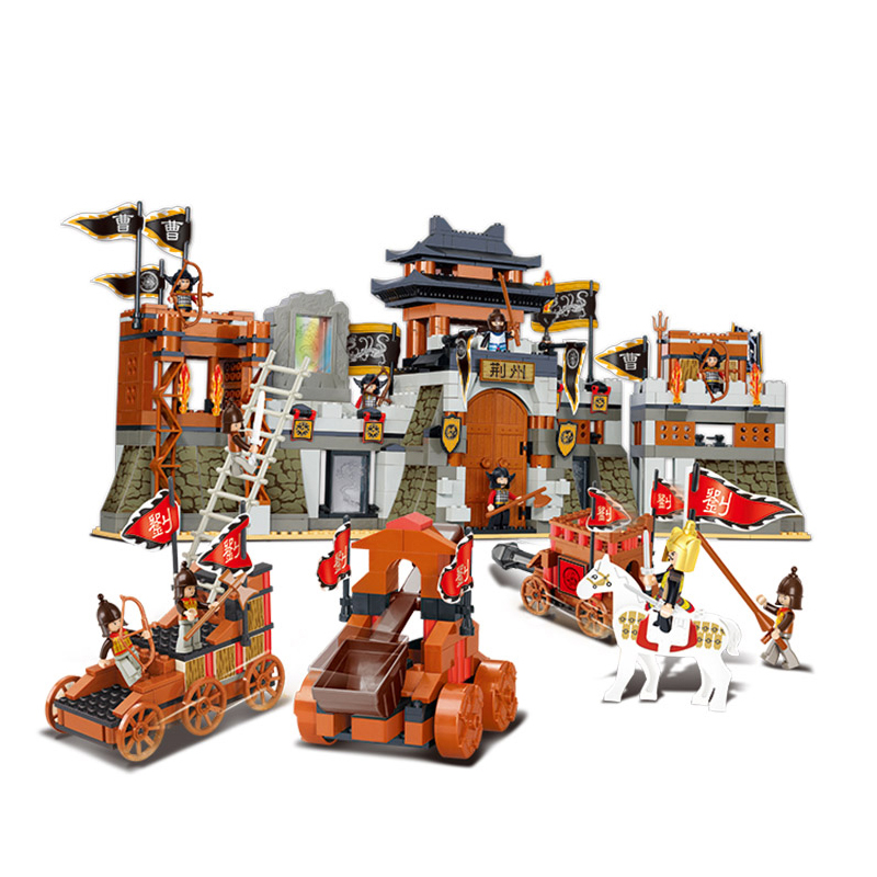 B0267 846pcs Sluban The Siege Attack Mini Bricks Set Sale Romantic of Three Kingdoms Models & Building Blocks Toys for Children sluban 0267 new romance of the three kingdoms battle of jingzhou building block set 3d construction brick gift toys diy