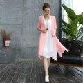 Мода 2016 Женщин Летнее Платье Новый Плюс Размер Твердых Белый жилет платье Из Двух частей Устанавливает Дышащий случайные Свободные Платья 631B 25
