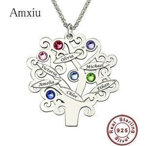 Image 1 - Amxiu Custom משפחה צוות עץ שרשרת 925 כסף סטרלינג תליון שרשרת לחרוט שם אבן המזל תכשיטי לחברים מזכרות