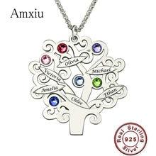 Amxiu özel aile takım ağaç kolye 925 ayar gümüş kolye kolye oyuk adı Birthstone takı arkadaşlar için hatıra