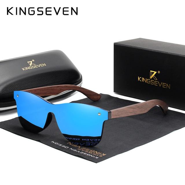 KINGSEVEN - Luxury Walnut Rimless Sunglasses 2
