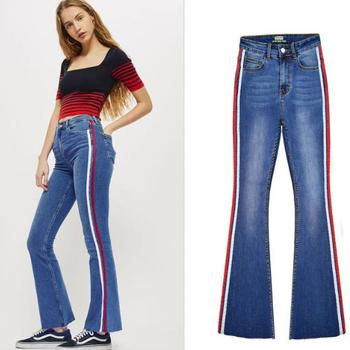 2020 New Women Design Side red white Stripe Skinny Brief Slim Flare Jeans Frayed Denim Pants skinny фото