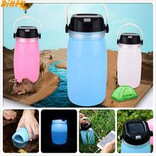 LED Portable Lanterns Lamp Camping Light Solar Lights Outdoor Sports Water Bottle Lamp Silica Gel Waterproof Power Bank soft silica gel portable outdoor fashion creative sports kettle solar charging camping lamp hiking luminous cup
