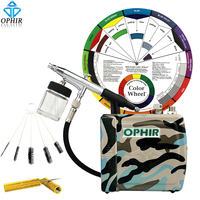 OPHIR 0.3mm Airbrush Kit with Mini Air Compressor & Cleaning Brush Needle & Color Wheel for Nail Art Body Paint Cake Decorating