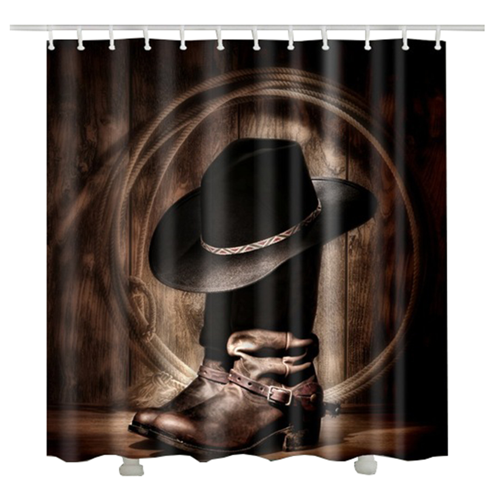 Vintage font b Cowboy b font hat shower curtain waterproof polyester fabric rideau cheval 2017 new