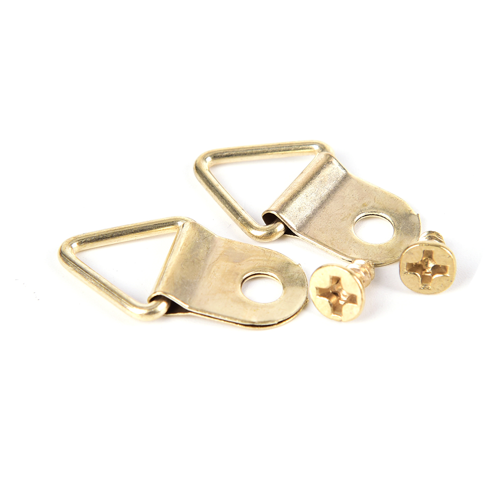 100 set Picture Hanger Photo Frame Hanging Triangle D Rings Golden Picture Frames Single Hole Hanger Hooks with Screws