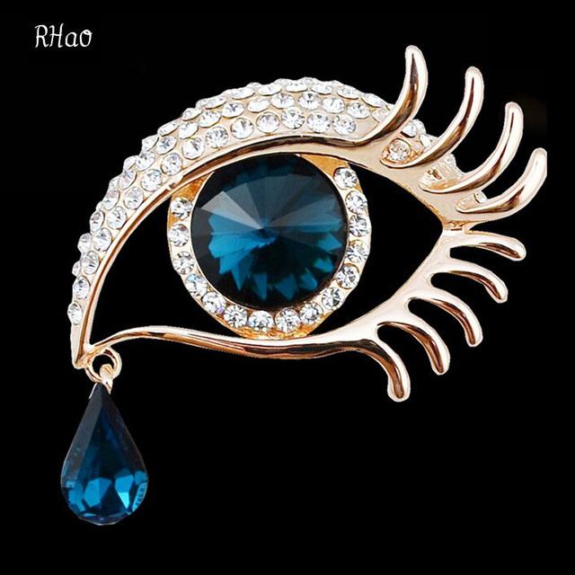 Rhinestone Crystal Big Eye Brooches