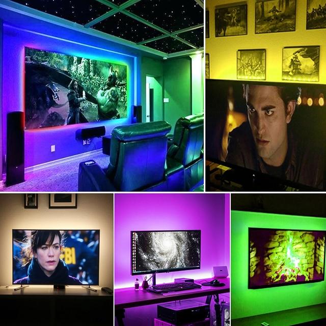1M 2M 3M LED TV Backlight RGB Neon lamp 5050SMD LED Strip Light For TV HDTV background Lighting with 24 keys remote control