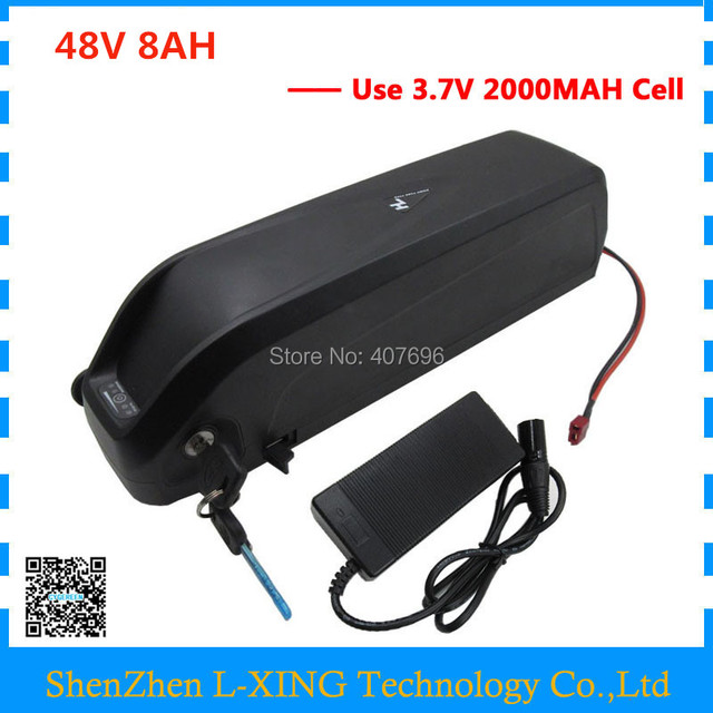 EU US no tax 48V 8AH electric bicycle battery 48V 8AH down tube lithium battery with USB port use 3.7V 2000mah cell 2A Charger