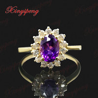 18 k yellow gold with 100% natural Amethyst ring female 1carat Luxury and generous Diana money