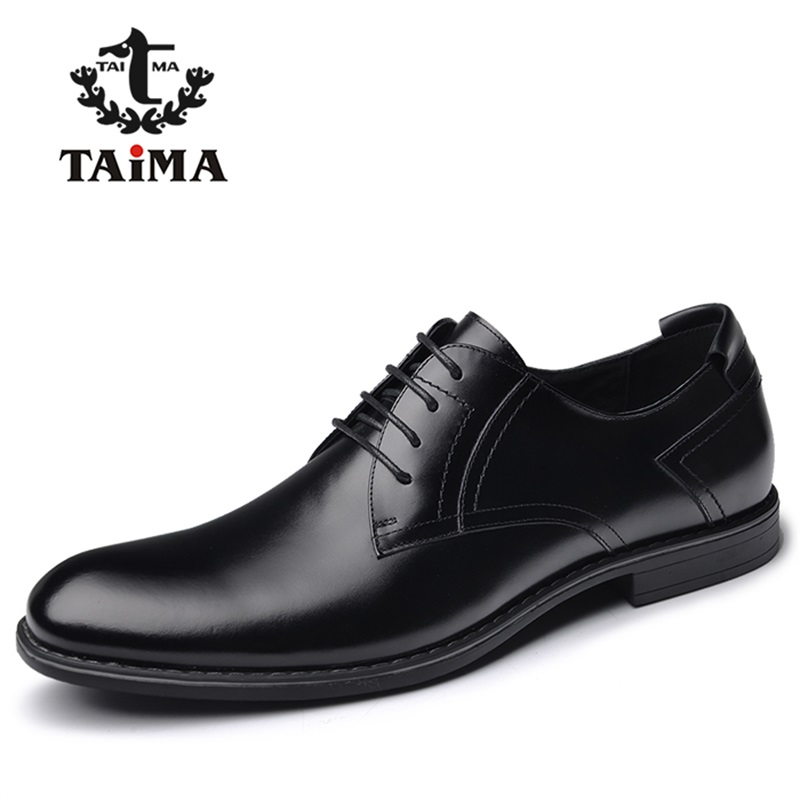 ФОТО New Arrival Top Quality Men Genuine Leather Dress Shoes Business Men Oxfords Classical Gentleman Shoes Brand TAIMA 40-45