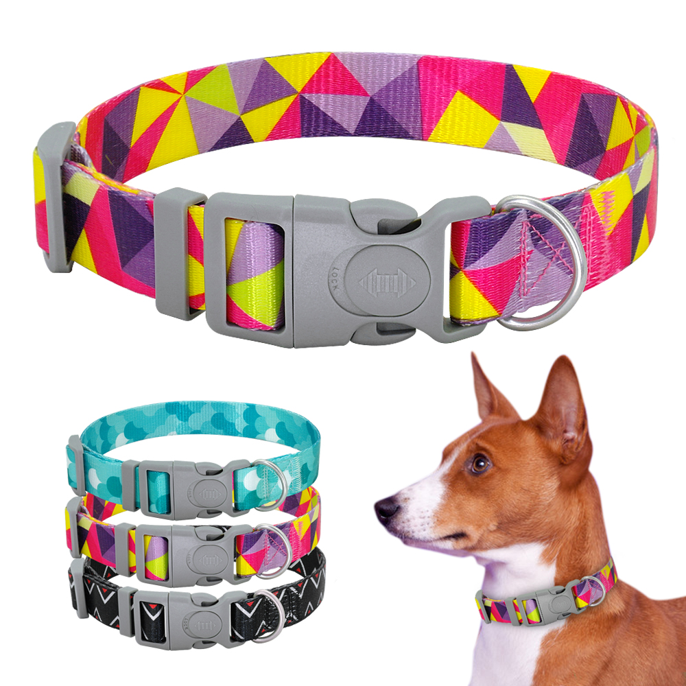 Pet Dog Collar Adjustable Puppy Cat Collar For Dogs Print Safety Buckle Small Medium Large Pet Chihuahua Collars Accessories