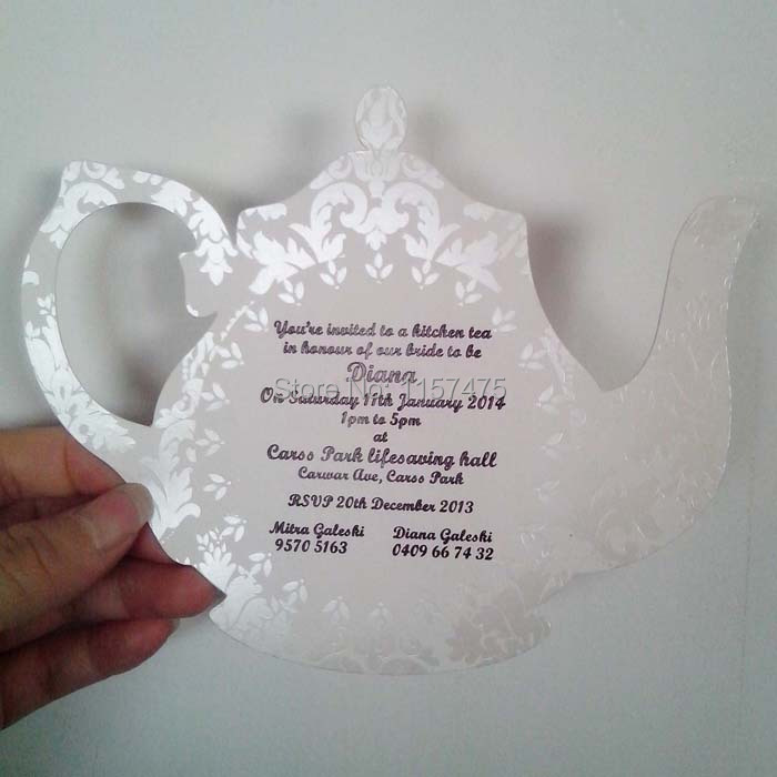 free shipping hi1020 unique teapot shape invitation for bridal