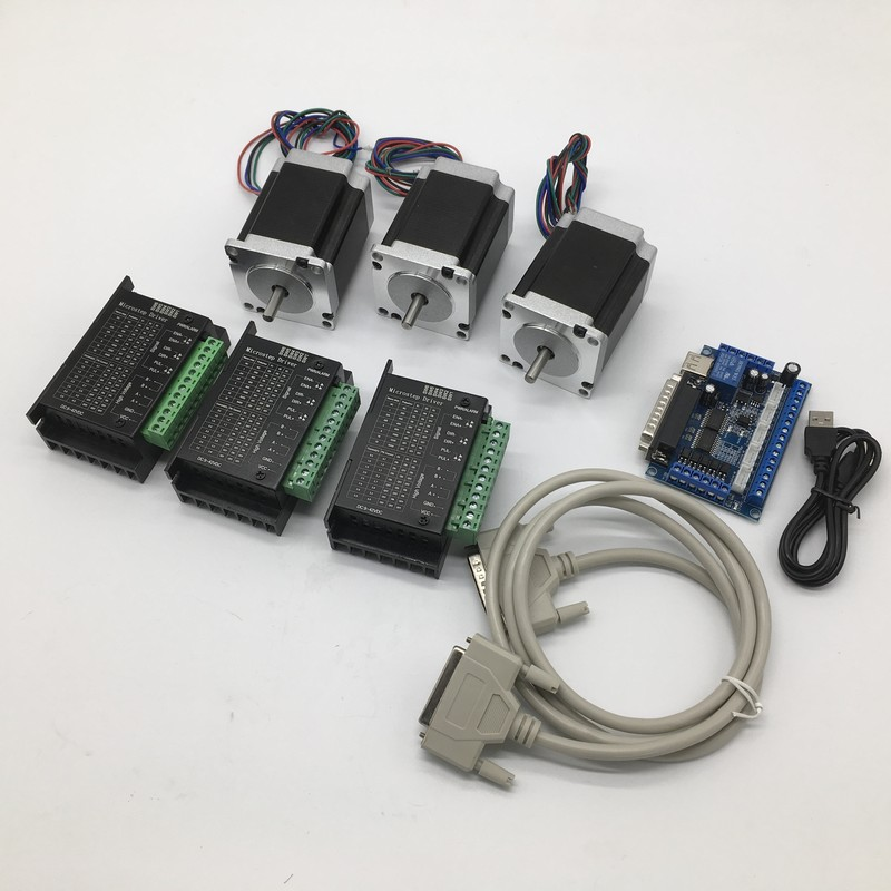 3PCS Nema23 Stepper Motor Driver With mach3 Breakout Board kit 57*56mm 3A 1.2Nm 172Oz-in 6.35mm Shaft 3Axis 2ph 4 Wires  cheap3PCS Nema23 Stepper Motor Driver With mach3 Breakout Board kit 57*56mm 3A 1.2Nm 172Oz-in 6.35mm Shaft 3Axis 2ph 4 Wires  cheap