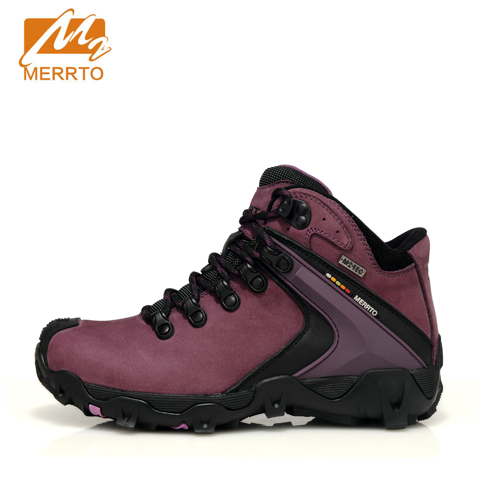 MERRTO Woman Hiking Shoes Outdoor Sports Shoes Waterproof Velvet High Top Camping Trekking Sneaker Genuine Leather Shoes Plus 2018 merrto women hiking boots waterproof outdoor sports shoes full grain leather plus velvet for women free shipping 18001
