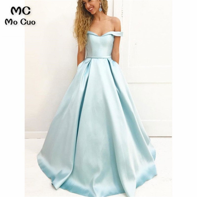 Elegant 2018 A-Line Off Shoulder   Evening     Dresses   Long with Pockets Draped Satin Short Sleeve Formal   Evening   Party   Dress