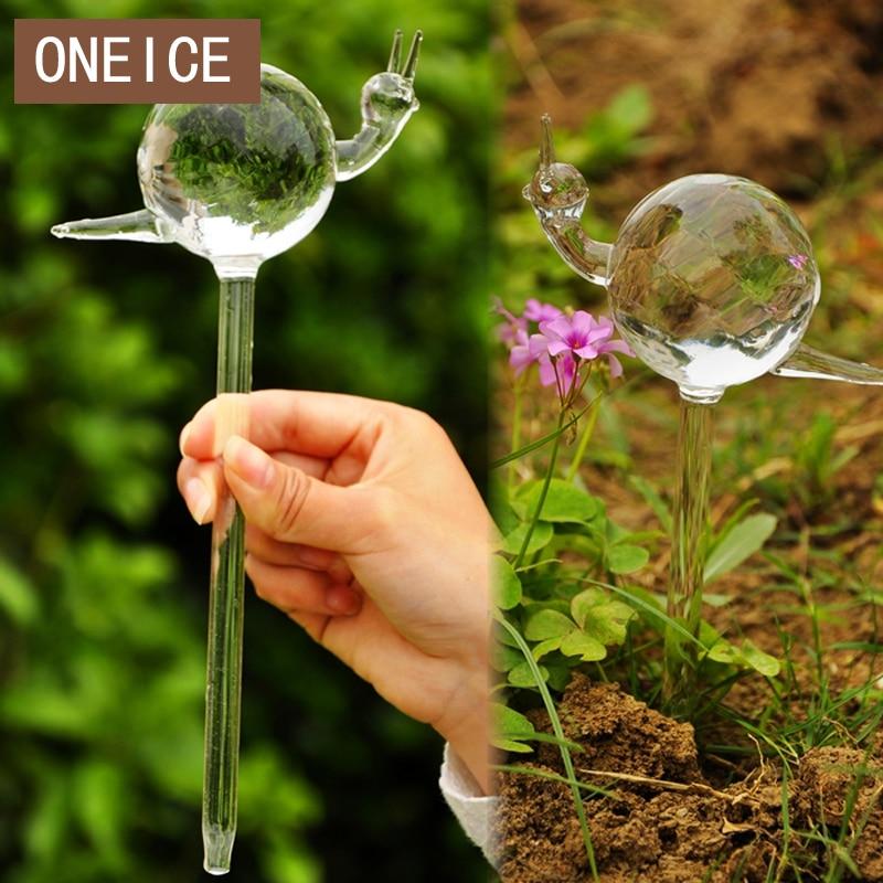 ONEICE նրբաճաշակ ձեռքի պատրաստված ապակե snail ջրելու սարք ավտոմատ ջրելու ծաղիկ Բարձրորակ արագ առաքում