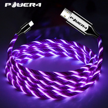 Power4 EL Cold Light USB C Phone Charging Cord For Samsung Fast Charging Micro USB type C Cable Glowing For Lightning iPhone