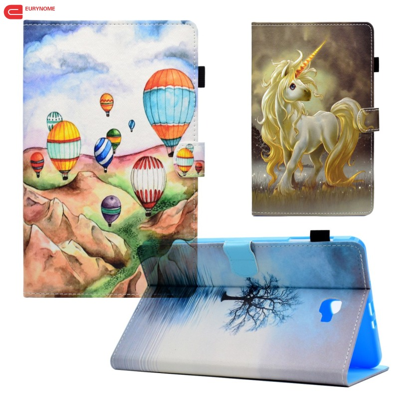 Fashion Cartoon Unicorn Cat Wallet Card Pu leather Stand case cover for Samsung Galaxy Tab A 10.1 T580 T585 SM-T580 T580N case fashion painted flip pu leather for samsung galaxy tab a 10 1 sm t580 t585 t580n 10 1 inch tablet smart case cover pen film