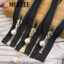Meetee 20/80/120CM 5# Metal Zipper Pearl Zip Slider Womens Open End for Clothes Handbag Coat Sewing Crafts Tools AP541