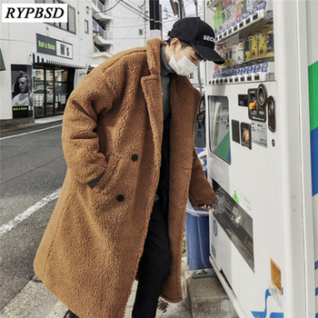 New 2019 Long Fur Coat Men Korean Fashion High Quality Thick Wool Coat Loose Double Breasted Cashmere Coat Men M-XL