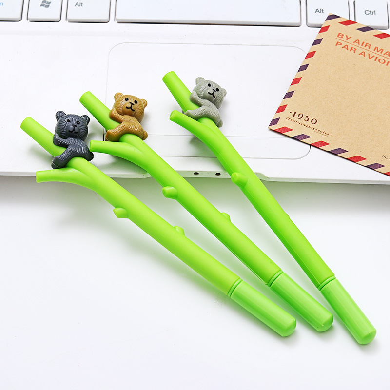 3 Pcs/Lot Creative Novelty Cute Cartoon Gray Brown Black Koala On Tree Gel Pen 0.5mm For Kids Gift Student School Stationery