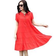 M-4XL Pleated Cotton V-neck Maternity Dresses Summer Pregnancy Dress for Pregnant  Women Plus Size Loose Maternity Clothes cc1ce3ae2ea0