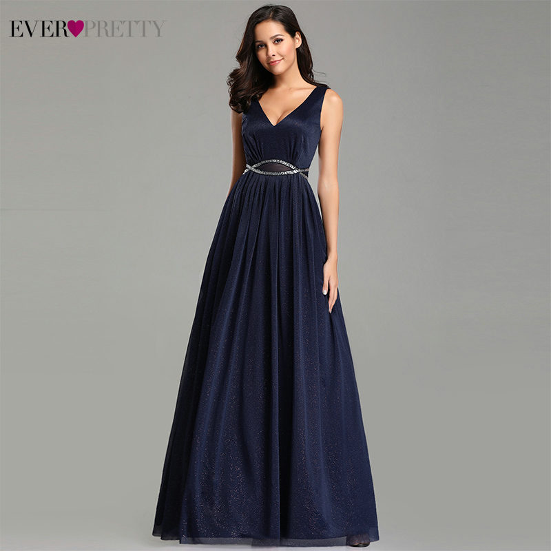 Elegant Evening Dresses Ever Pretty 2019 Deep V-Neck A-Line Sleeveless Floor-Length EZ07793NB Sexy Party Gown Robe De Soiree