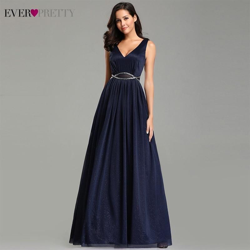 Elegant   Evening     Dresses   Ever Pretty 2019 Deep V-Neck A-Line Sleeveless Floor-Length EZ07793NB Sexy Party Gown Robe De Soiree