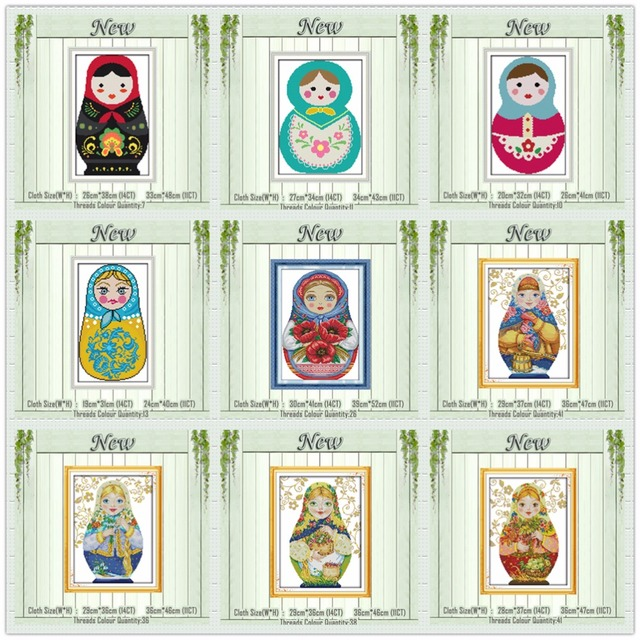 Colorful Russian dolls lovely painting counted print on canvas DMC 11CT 14CT Chinese Cross Stitch kits embroidery needlework Set