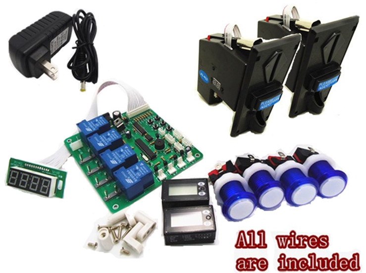 1 kit for JY 21 4 digits minte: second coin operated timer board for 1-4 devices machines with 923 multi coin acceptor selector
