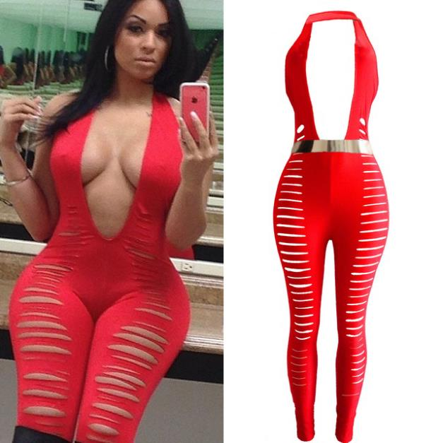 0f158be3a23f New Women Sexy Celebrity Red Sleeveless Cut Out Bandage Club Jumpsuit  Catsuit Overall 4124
